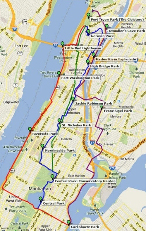 Fort Tryon Park Map Runs to Beautiful Places: Fort Tryon Park and The Cloisters Fort Tryon Park Map